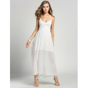 White New Fashion Women Ladies Sexy Strap V-Neck Lace Floral High Elastic Waist Backless Chiffon Maxi Party Beach Long Going Out Dresses