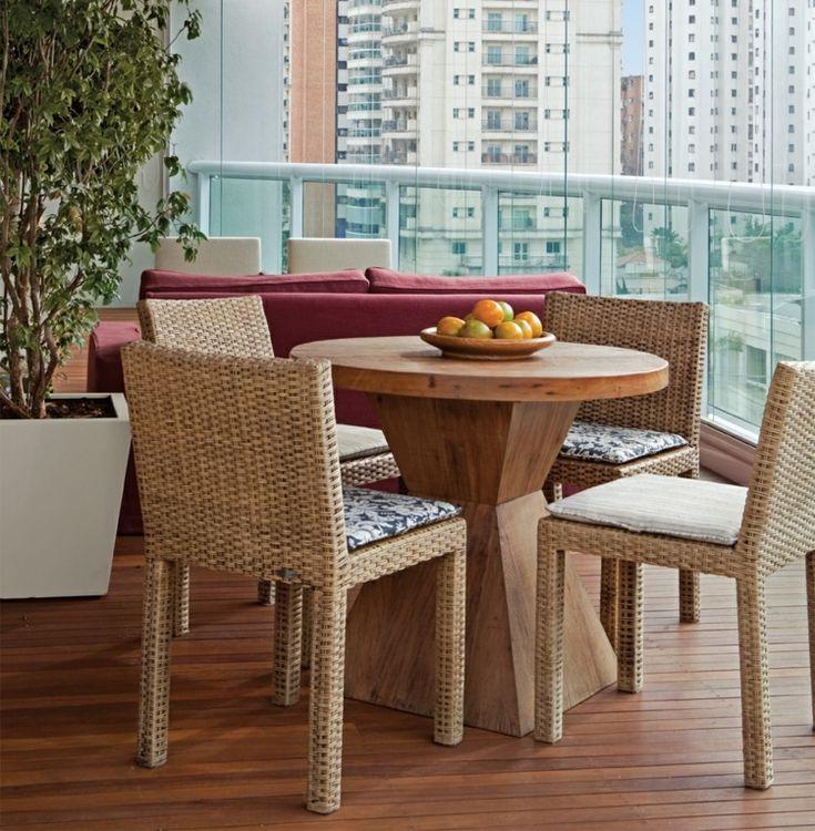 Kinder Gartenmobel Bauen : Balkonmöbel  Set aus modernem Kaffeetisch und RattanStühlen