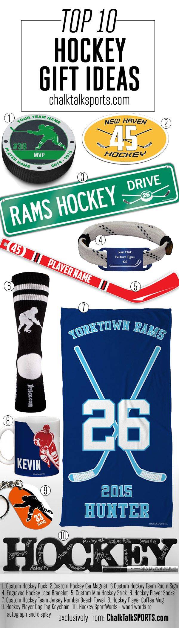 Top 10 Hockey Gift ideas. Perfect gift ideas for hockey players. End of season hockey coach gifts and hockey player gift ideas. These hockey gifts are made-to-order and can be personalized with your team and hockey player's info! All these plus a lot more at chalktalksports.com #hockey