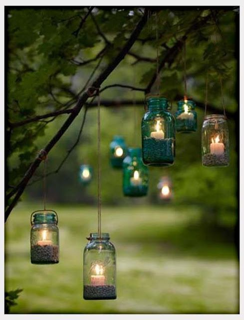 Backyard lanterns - use flameless candles for safety!