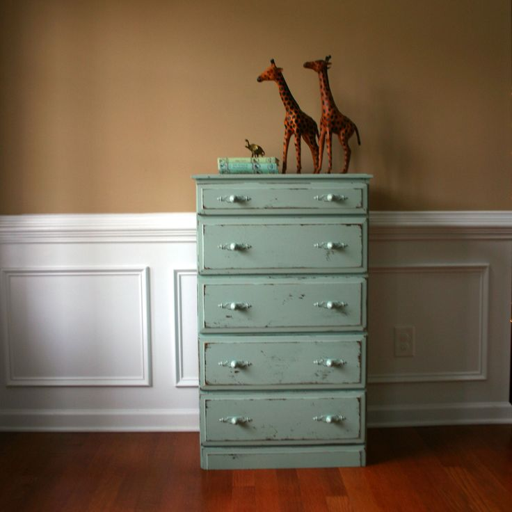 Wooden Vintage Chest of Drawers. Turquoise Green.via RhapsodyAttic