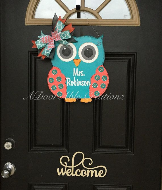 This cute adorable owl is cut, sanded and hand painted and waiting to be customized. It is the perfect gift for your favorite teacher to decorate the classroom, it is great for nursery decor, a childs room, and its also perfect to add a little color and fun to your front door . The bow is included.  The door hanger is approximately 14X12.5  If you need this door hanger in a bigger size, please feel free to contact me via convo to discuss  Please provide the following details in your order…