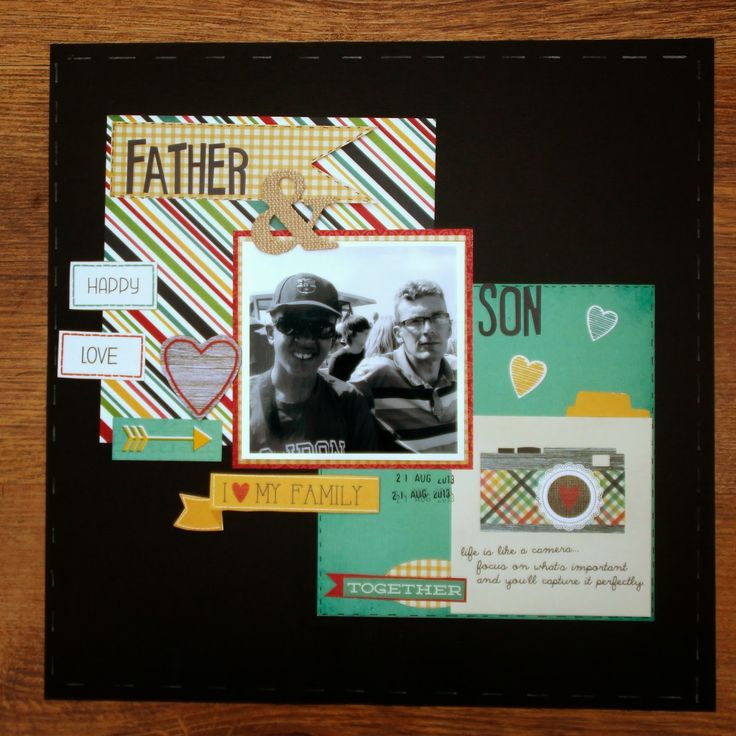 Father & Son (using scraps on desk) Simple Stories HomeSpun Collection