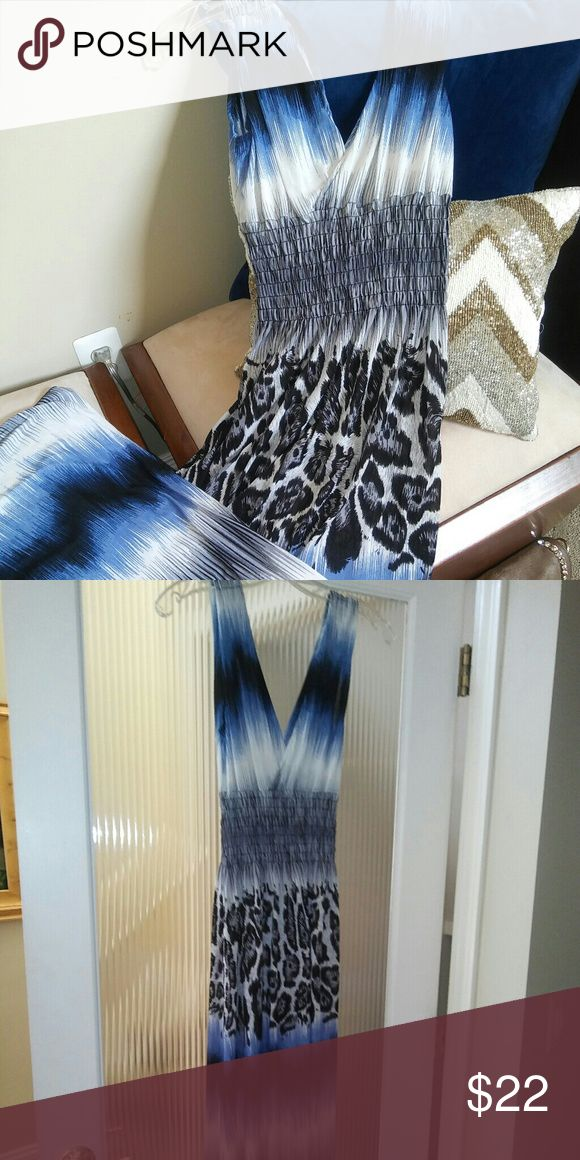 Beautiful Maxi Dress Blue, white, leopard maxi dress , scrunched tummy tuck , stretch material. Dress up or down 24th & Ocean Dresses Maxi