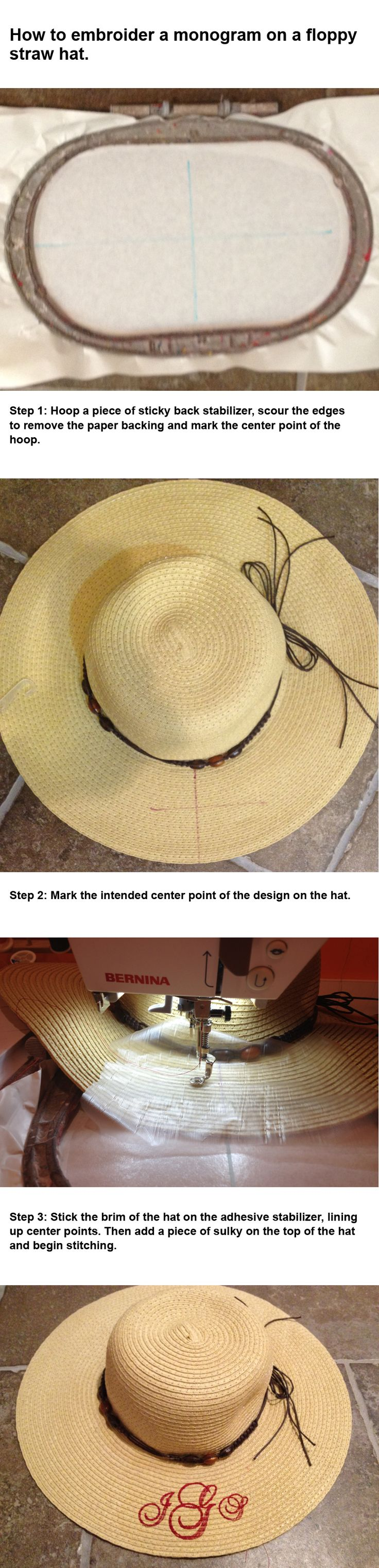 How to embroider on a straw hat