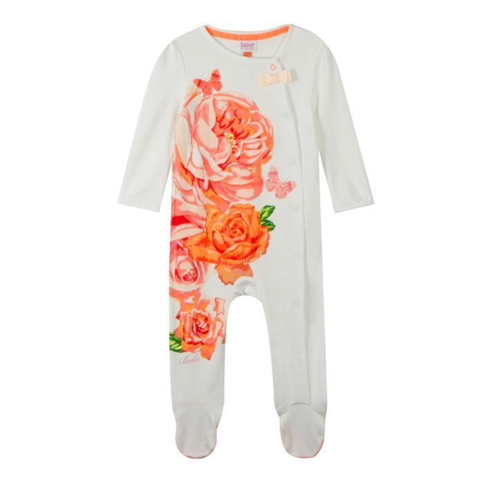 Baker by Ted Baker Babies off white placement print sleepsuit- at Debenhams Mobile  In size 6-9 months or 3-6 months or 9-12 months