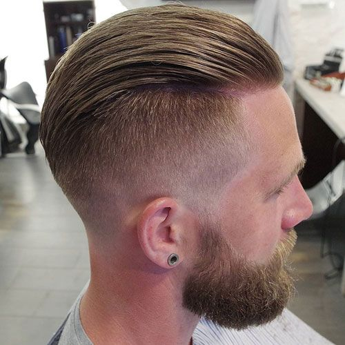Taper Fade with Slicked Back Hair and Thick Beard