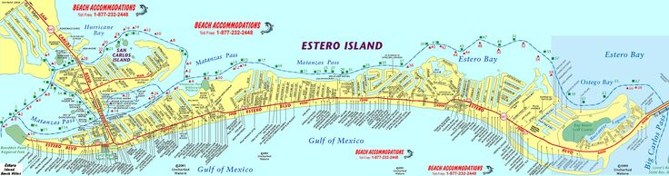 Fort Myers Beach Map - A detailed map of Fort Myers Beach (Estero Island), including waterways and destination markers