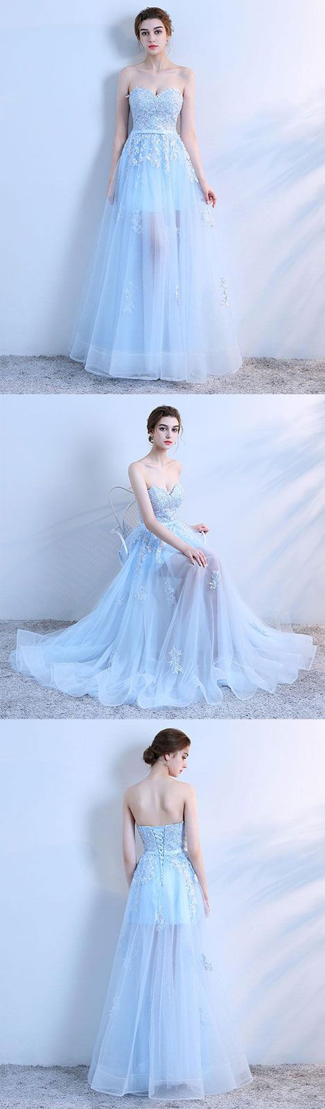 Sky blue lace long prom dress, lace evening dress, lace tulle bridesmaid dress