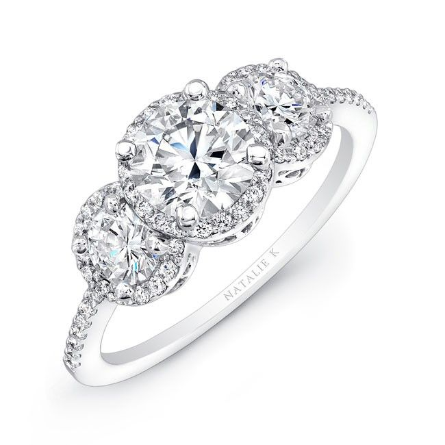 and halo rose diamond stone ring wedding round engagement gabriel white stones three gold rings lily
