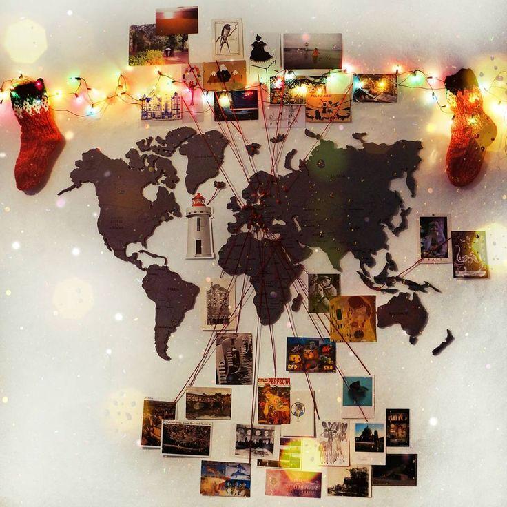 """64 curtidas, 10 comentários - @aleksandra.silena no Instagram: """"Done!!! ✔ World postcard map!!! На моей стене появилась карта мира с открытками из разных городов и…"""""""