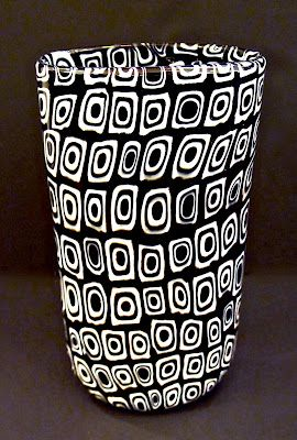 """Vittorio Ferro, a a well known glass artisan who worked under the Murano maestro Fratelli Toso, created this animated black & white glass vase circa 1970.  11.5"""""""