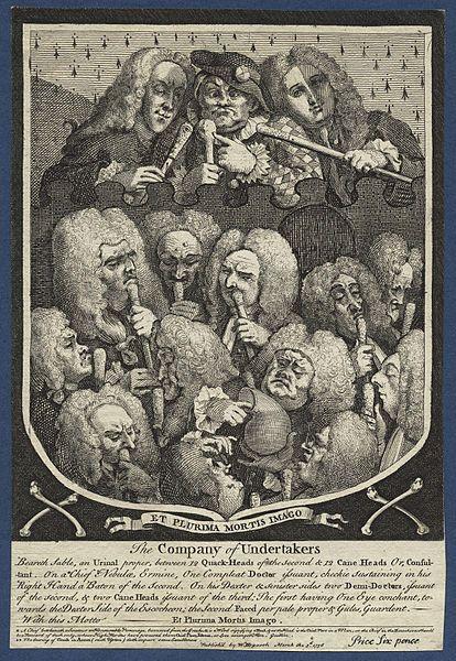 """Autore: William Hogarth Nome dell'opera: """"The Company of Undertakers"""" (""""La Compagnia dei Becchini"""") Data: 1736 Tecnica: Incisione Collocazione: National Portrait Gallery, Londra"""