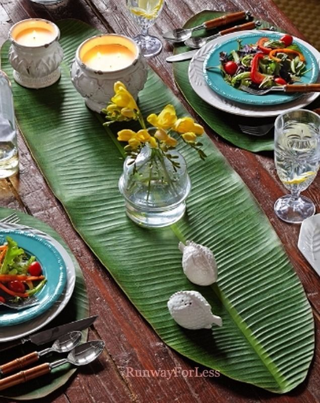 New TOMMY BAHAMA Balihai Banana Leaf Rubber Table Runner Home Kitchen Decor #TommyBahama