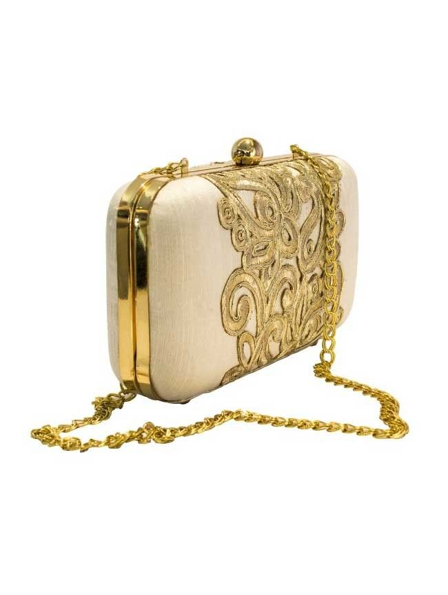 Statement- Off White/Gold - Off White/Gold Embroidered Raw Silk Clutch