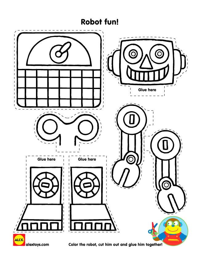 color cut and paste together a fun robot craft with our free printable - Fun Activity Sheets