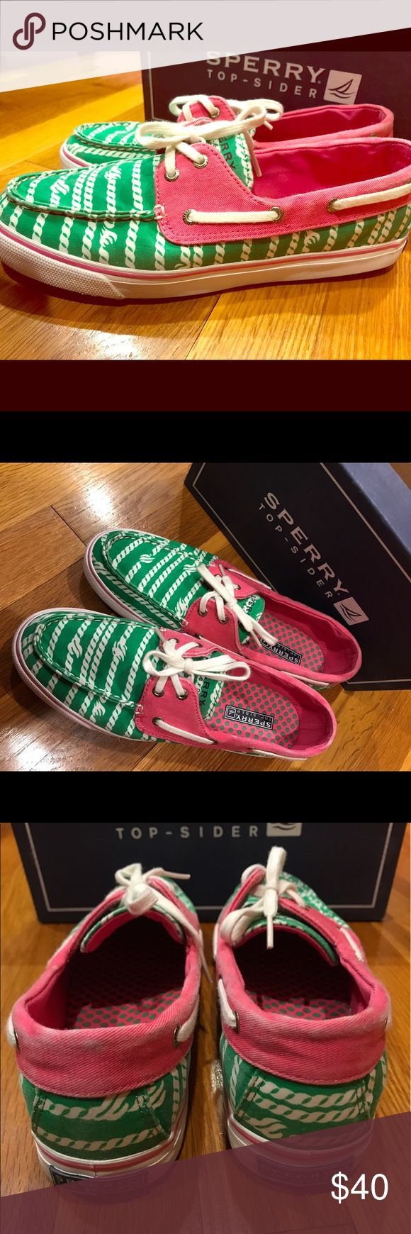 Sperry Top-Spider Buscayne Rope Sperry Top-Spider boat shoes in a green and white nautical rope pattern with a pink accent. Only worn twice, some wear from the store (marked as clearance). Extremely comfortable and perfect for summer! Sperry Top-Sider Shoes Flats & Loafers