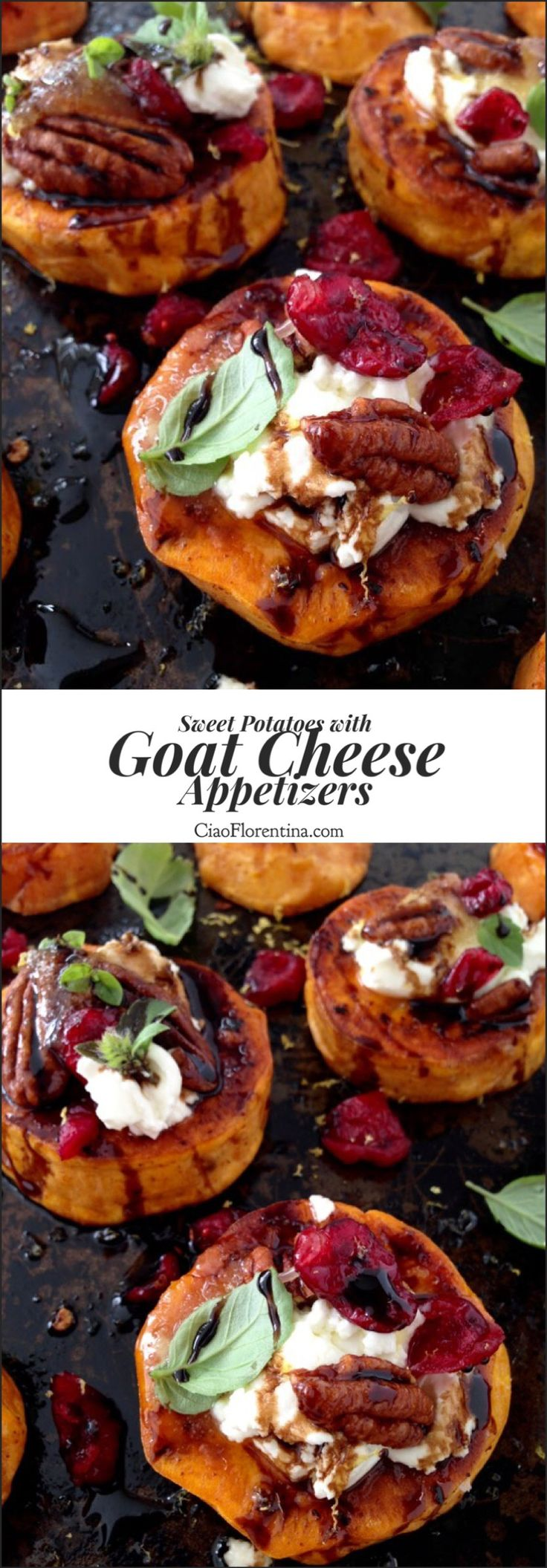 Sweet Potato Goat Cheese Appetizers with Candied Walnuts and Balsamic Glaze | CiaoFlorentina.com @CiaoFlorentina