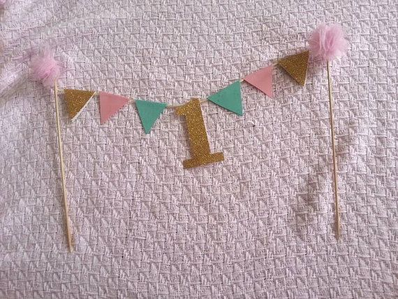 XL mint pink and gold first birthday cake bunting/cake banner/cake smash/birthday girl/photo shoot