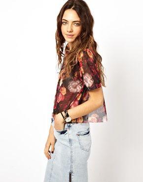 ASOS T-Shirt in Mesh with Split Back in Rose Print