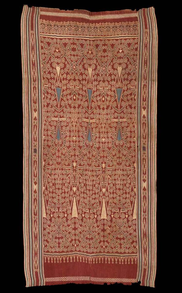 * Borneo - Iban Dayak Pua Kombu (Ritual Cloth) with indigo stylized floral elements, late 19th century. Cotton, ikat