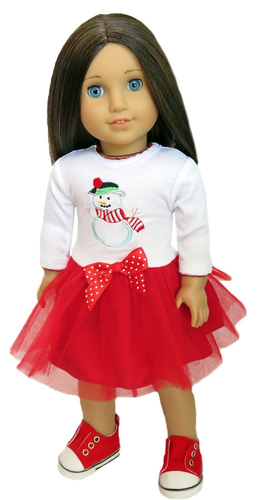 American Girl Doll Clothes by Silly Monkey - Red and White Tulle Snowman Dress, $15.99 (http://www.silly-monkey.com/products/AG-dol-snowman-dress.html)