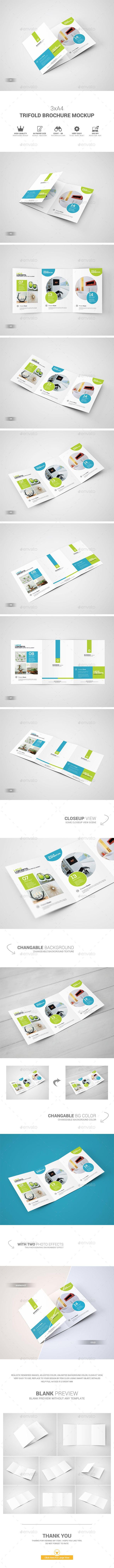 3xA4 Trifold Brochure Mockup - Brochures Print