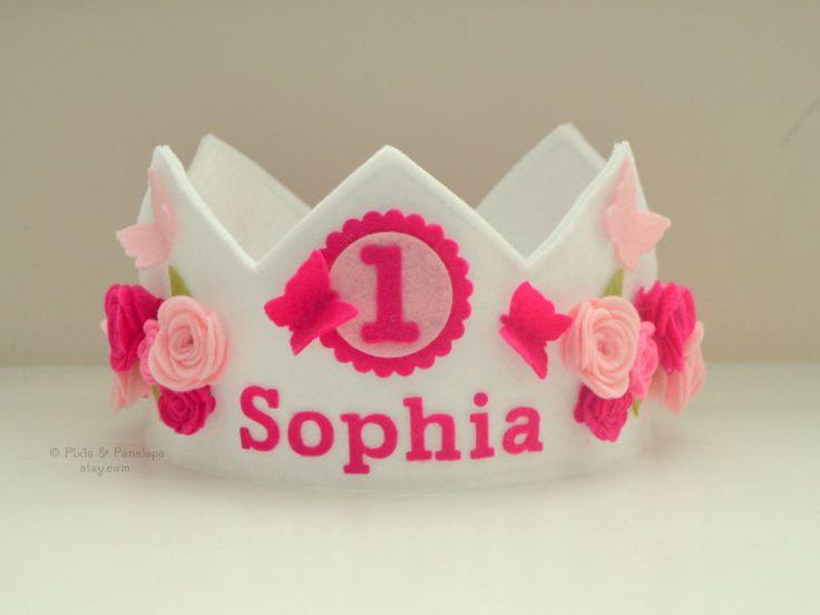 Corona de la mariposa fieltro rosa de corona por pixieandpenelope