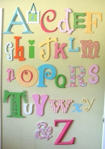 girly alphabet wall