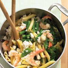 Penne with Shrimp, Feta, and Spring Vegetables II Recipe