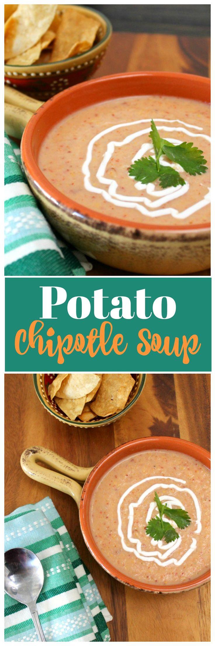 Potato Chipotle Soup Recipe #potatoes  #chipotle #soup via @OCRaquel