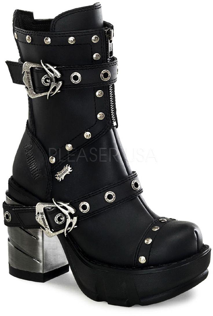 Goth Punk Biker Chick Studded Straps Extreme Platform Boots Shoes Adult Women