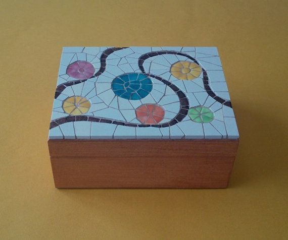 Decorative wooden mosaic box by Mosaicloud on Etsy, €41.00