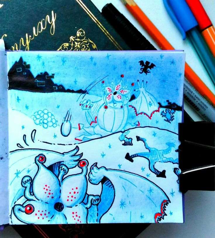 A new view on The Mountain of Madness by Lovecraft 😂 My city is covered with snow and looks are quite inspiring!)) The second image- a simple inversion of colors- is just perfect for mythos. . #illustration  #illustrator #myth #antarctica #mythology #traditionalartist #traditionalmedia #elderthings #elderone #paper #draw #drawing #o