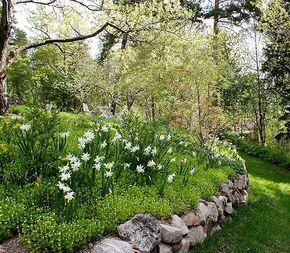 Arkitektens trädgård; Marika Delin. Upphöjd rabatt byggd av natursten.