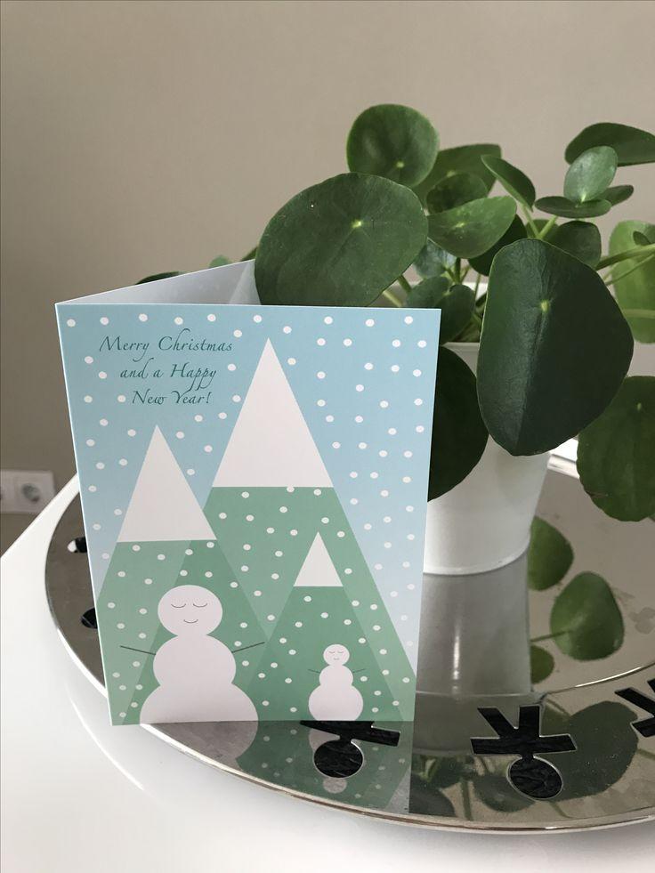 Leuke, vrolijke kerstkaart in pastel kleuren! Deze sneeuwmannen wensen iedereen fijne feestdagen en een gelukkig nieuwjaar! #merrychristmas #happynewyear #kerst #christmas #stationary #post #echtepost #kaartje