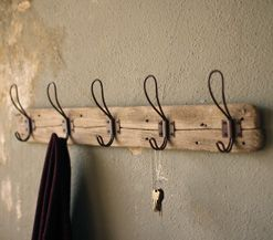 Recycled Wood Coat Rack with Vintage Wire Hooks.  Could make the hooks from old wire clothes hangers?