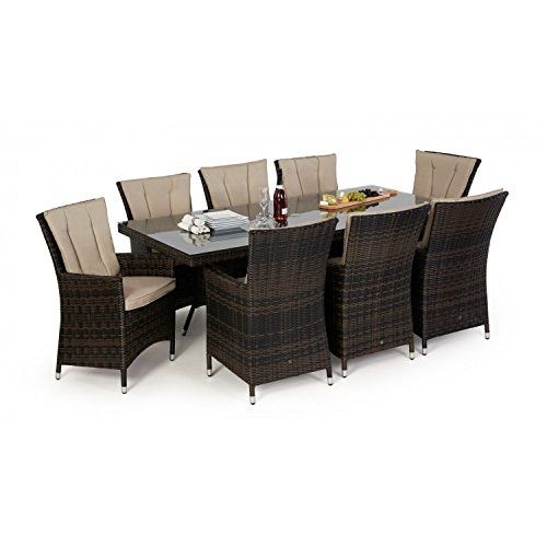 Sandyfield 5 Piece Brown Wicker Patio Conversation Set with Blue  Cushions  San Diego Rattan Garden Furniture Brown 8 Seater Rectangle Table  Set. brown garden furniture sets   Roselawnlutheran