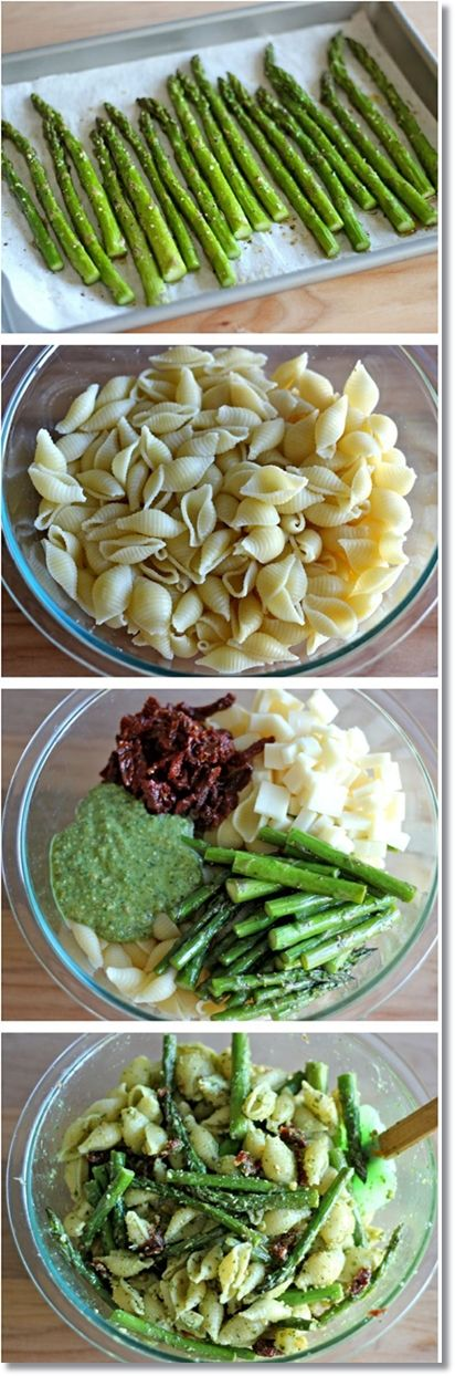 Pesto Pasta with Sun Dried Tomatoes and Roasted Asparagus  Substitute spaghetti squash for the noodles to save calories and carbs!