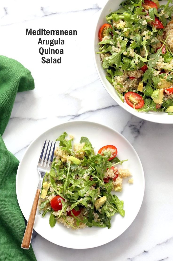 Vegan Mediterranean Quinoa Salad with Arugula, Avocado and Lemon Oregano Olive oil dressing. The Lemon Garlic Dressing brightens up this Summery Quinoa Salad. Perfect to make ahead and serve at Picnics. Vegan Gluten-free, Nut-free Soy-free Recipe | VeganRicha.com
