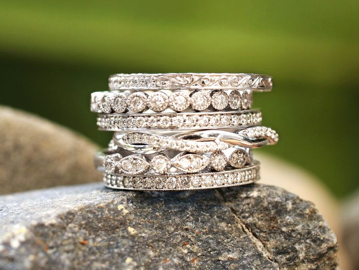 Stacked delicate diamond rings for special life events