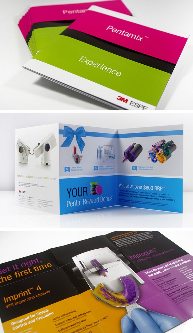 These out of the ordinary brochures were designed for 3M ESPE's Pentamix Experience.View more> http://ow.ly/MPWkI #EmoceanStudios #GraphicDesign #PrintDesign #BrochureDesign #Design #Graphics #DesignStudio #DesignStudioParramatta #Logo #Offer #Printing