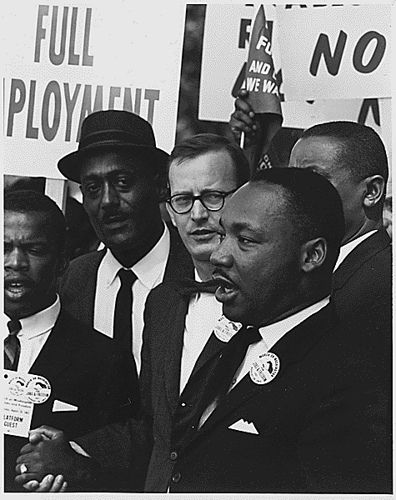 Civil Rights March on Washington, D.C. [Dr. Martin Luther King, Jr., President of the Southern Christian Leadership Conference, and Mathew Ahmann, Executive Director of the National Catholic Conference for Interrracial Justice, in a crowd.], 08/28/1963