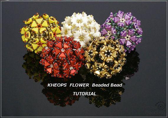 *P Kheops Flower Beaded Bead  PDF beading TUTORIAL by SpiralaBeading