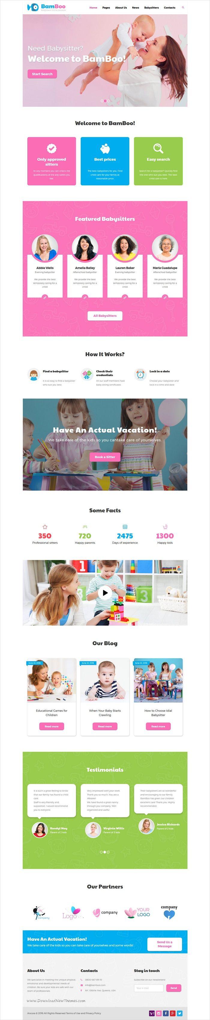 Bamboo is a modern and functional design #WordPress theme for #preschool, #kindergarten, #babysitters online network, professional nurses teams, nannies or children educational websites download now➩ https://themeforest.net/item/bamboo-babysitters-online-network-wp-theme/17324294?ref=Datasata