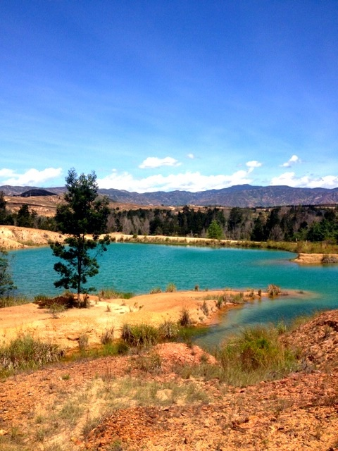 Blue lakes near Villa de Leyva, Colombia