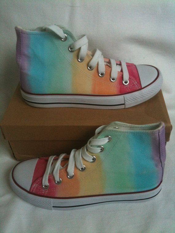 New Rainbow baseball boots hand tie dyed to by TheLittleRedOwlCo, £22.00