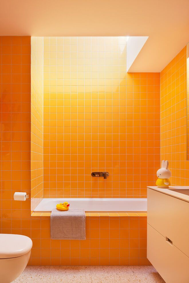yellow bathroom egg yolk tiles kateu0027s house by bower melbourne australia