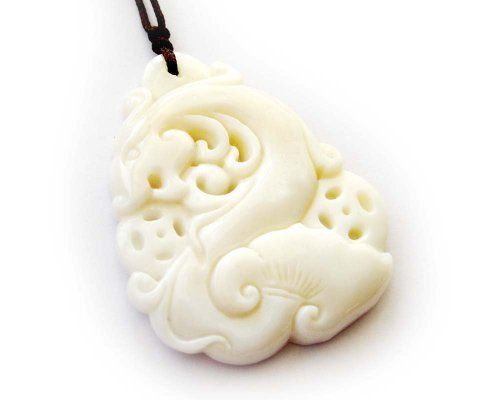 Natural Shell Fortune Dragon Ginseng Pendant Necklace ovalbuy. $4.99. With cord for necklace. With jewelry pouch. Pendant size: 40mm x 35mm. Natural Shell Carved dragon
