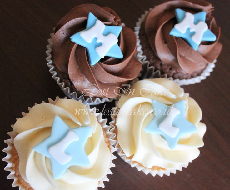 Boys Christening Cupcakes